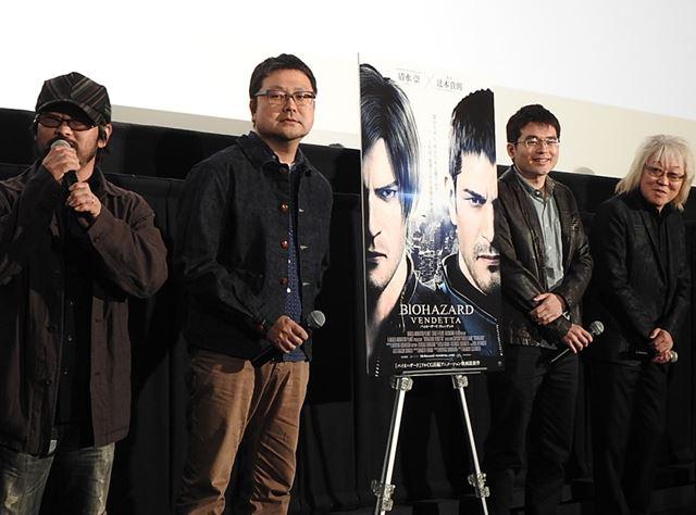 左から清水氏、辻本氏、深見氏、川井氏。舞台挨拶では、知られざる製作現場の舞台裏が語られました