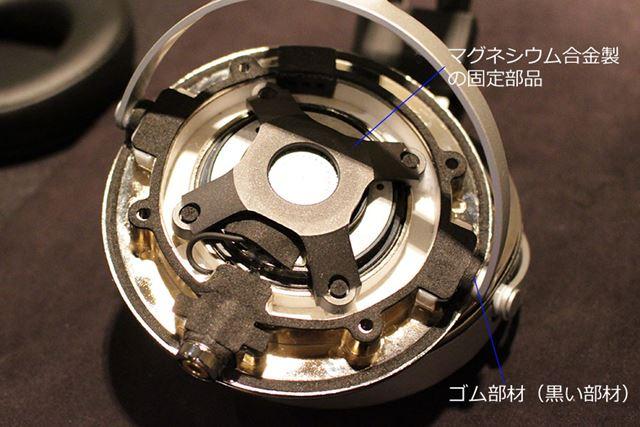 ドライバーユニット内部。金属パーツが多く使われているのが印象的で、樹脂パーツはすくない