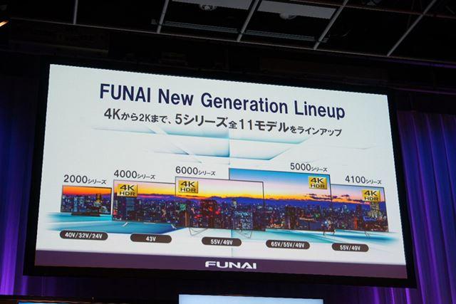 「FUNAI」ブランドの薄型テレビラインアップ