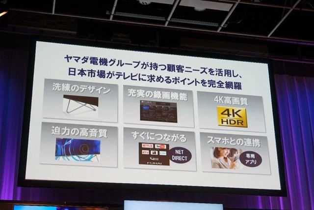 ヤマダ電機と共同で商品企画を行い、日本市場をターゲットに開発された