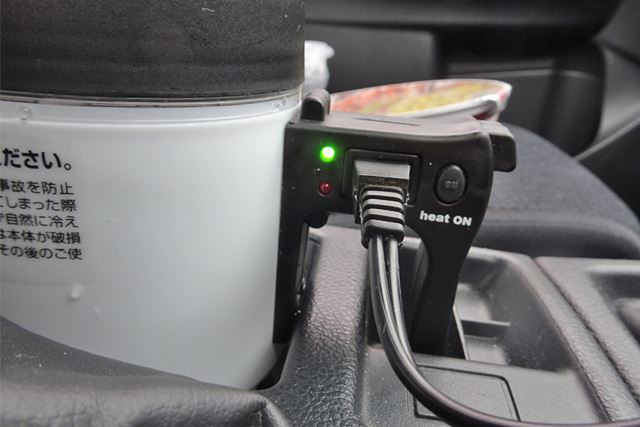 通電を示すグリーンのランプ。ここからスイッチを押さないと加熱しないので、スイッチONを忘れずに