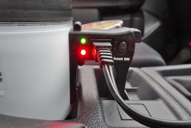 加熱が始まると赤いランプが点灯。これが消えてグリーンのランプのみになったら完了です
