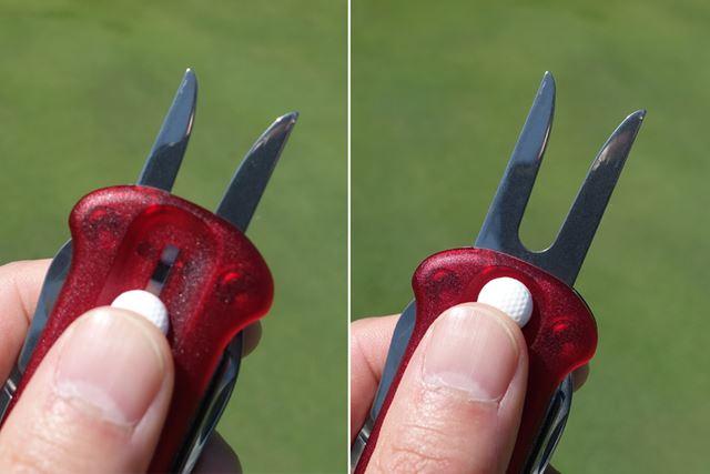 かわいらしいゴルフボールを親指で押し上げると、グリーンフォークが登場