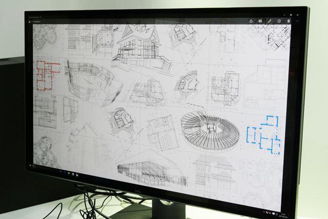 多数の設計図を画面上に表示。紙の設計図を見間違えるほど鮮明だ