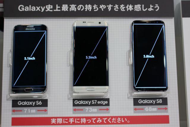 5.8インチのディスプレイを搭載しているが、前機種Galaxy S7と比べると、横幅が約5mmも狭くなった