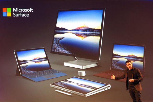 3つの新型Surfaceを説明する米マイクロソフトのSurface担当コーポレートバイスプレジデントのPanos Panay氏