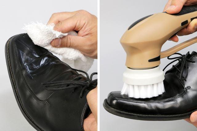 革靴用クリーナーを全体に塗り、「ソフトブラシ(ホワイト)」で磨きます