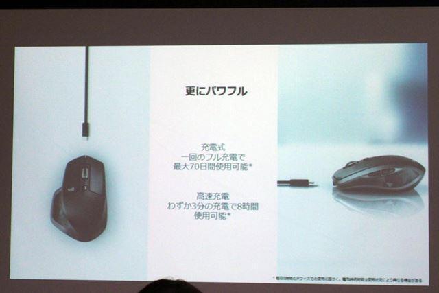 新しいMXシリーズマウスは、バッテリー性能も大幅に向上している