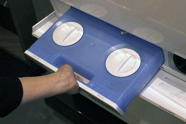 液体洗剤と柔軟剤を入れっぱなしにできるタンク。1か月ほどは補充しなくても持つらしい