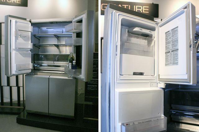 マジックミラーではない左側のドアには製氷機も搭載。ちなみに今回の展示では、庫内を実際に冷やしている