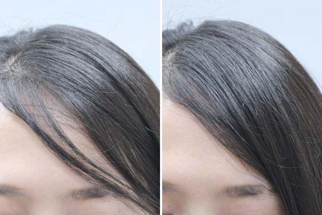 ぱくっと割れてだらしない印象になってしまっていた前髪も、流れを整えることですんなりまとまる