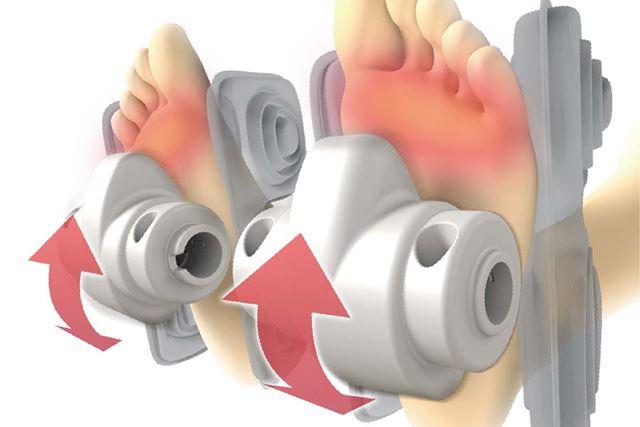 ローラーは足裏のアーチに剃った形状で、土踏まずから足裏の外側にかけて伸ばし広げるようにマッサージする