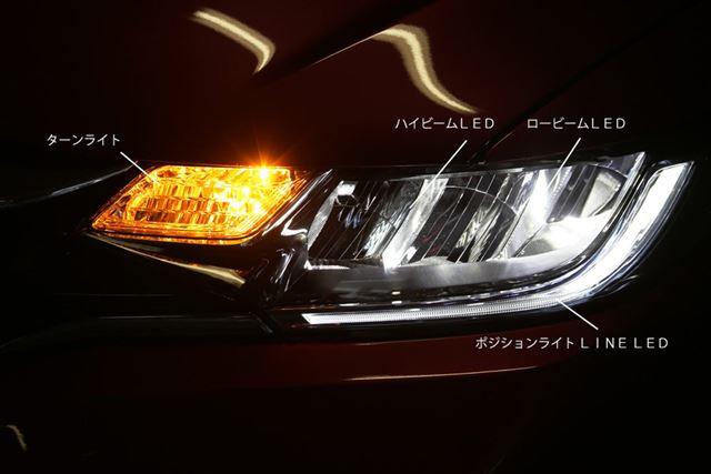 (画像)HYBRID、HYBRID・F、13G・Fを除く全グレードに標準装備されるインラインタイプのLEDヘッドライト