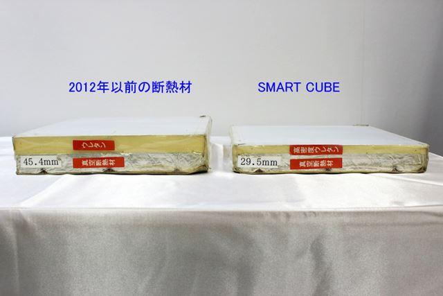 同等の断熱性能を有しながら、SMART CUBEは従来の断熱材よりも厚みが約16mmも薄くなりました