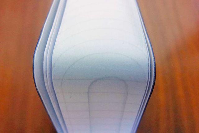 小口(本やノートの開く側)部分を斜め上(下)から眺めると。こんな年輪のような模様が見えます