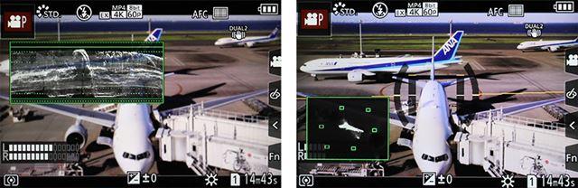 左が波形モニター、右がベクトルスコープを表示した画面