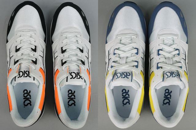 明るすぎないレトロな風合いのオレンジとイエローで、履き口を囲むようにカラーリング