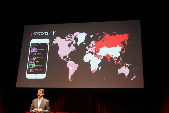 作品ダウンロード機能のヒートマップ。特にアジア地域で積極的に利用されているという