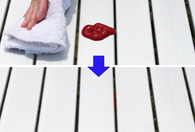 収納性にすぐれる収束式ですが、このような汚れを布巾でサッと拭き取ると……