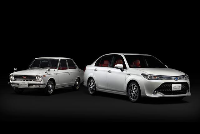 """(左)初代カローラ/(右)カローラ特別仕様車 ハイブリッドG""""50リミテッド"""""""