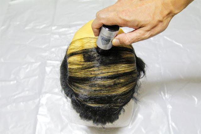 頭部を軽くたたくようにスーパーミリオンヘアーをふりかけると、すぐに頭部が黒くなっていきます