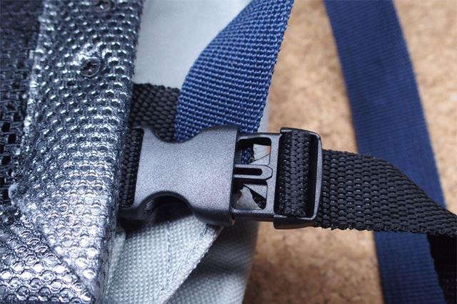 左右の肩ベルトの下部にもベルトを通して安定させます