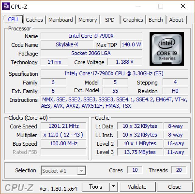 CPU-ZでCore i9 7900Xの詳細を表示したところ