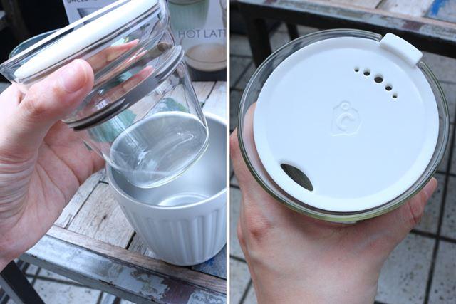 真空断熱カバーでガラスカップを保温・保冷できる(左)。ふたは味や香りをじゃましないトライタン製(右)