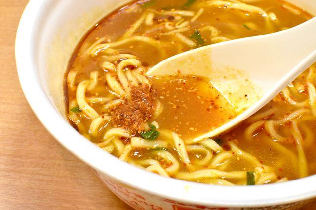 """スープのとろみが弱かったのが、非常に残念。味噌スープの味や""""カラシビ""""は、本店の味とほぼ変わりません"""