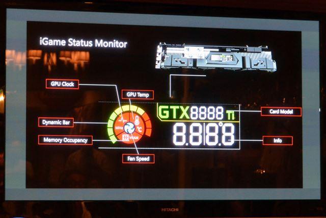 ビデオカードに搭載されたLEDパネルでGPUの動作状況をモニタリングできる「iGame Status Monitor」