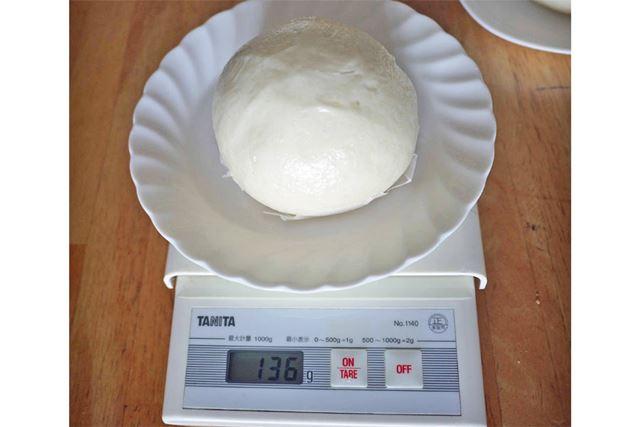 蒸した後の1個の重さは136gでした