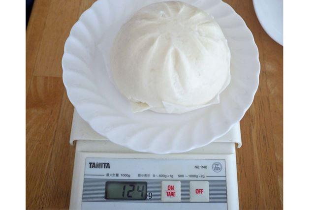 蒸し器で蒸した1個の重さは124gでした