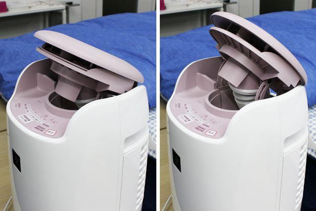 ホースを収納した状態で吹出口の角度を変えれば、空気浄化や衣類乾燥も行えます。角度は2段階で変更可能