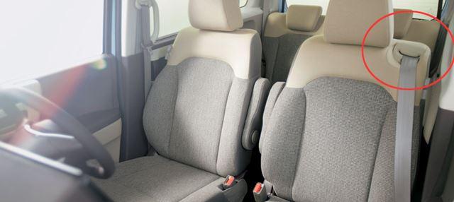 新型N-BOXの助手席スーパースライドシートでは、シートの肩部分にベルトの引き出し口が付いている