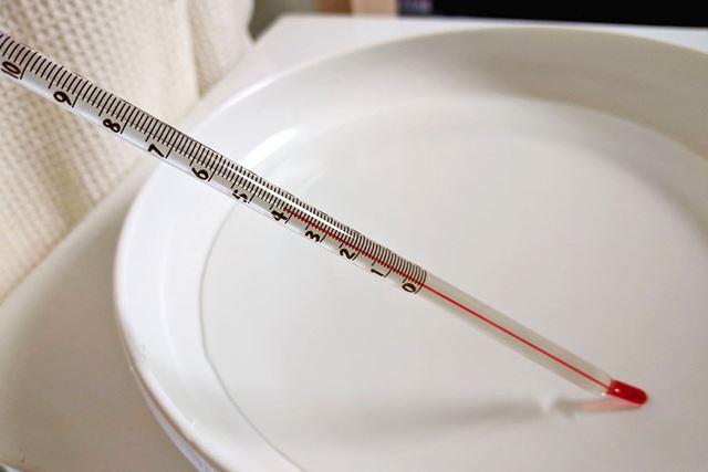 お皿に水を入れ、4パターンでの温度の違いを測ってみました