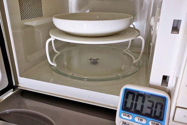(3)上段だけで水20mlを30秒間温めてみた
