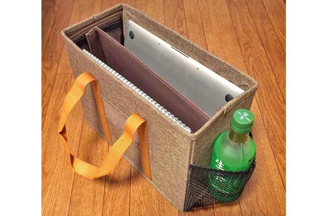 バッグ側面の網ポケットは、ペットボトルのドリンク入れにピッタリ