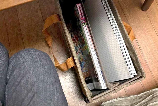 このように、デスクの下に置いておけば、欲しい資料にいつでも手が届く状態に