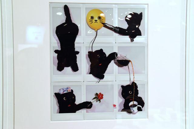 9枚のチェキを並べた、アーティスト・チョーヒカルさんのユニークな作品