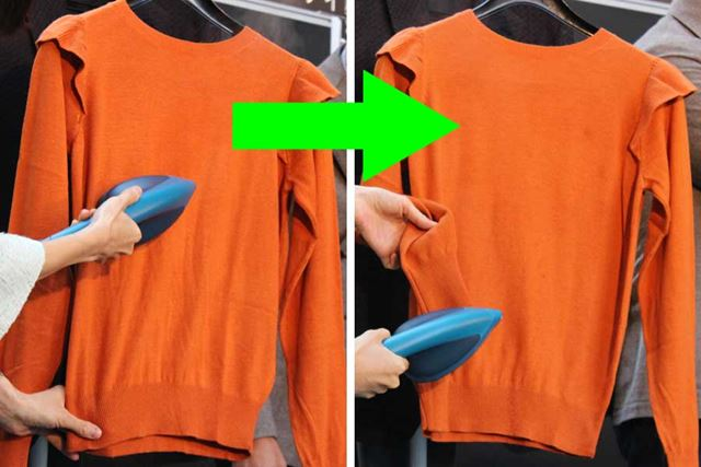 女性モノのオシャレ着も、傷めることなくシワ取りできます