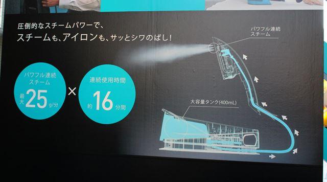 ハンドルに到着した水は、内部のスチームチェンバー機構によってスチームになって噴射されます