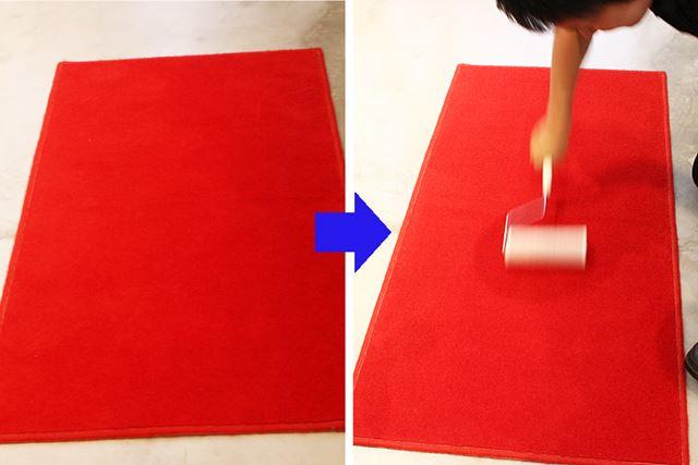 ゴミはまったく見当たらない真っ赤なカーペットを、粘着カーペットクリーナーで掃除