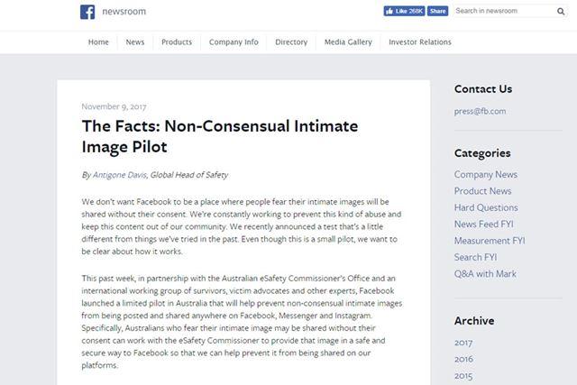 リベンジポルノの新しい防止策を発表したFacebook