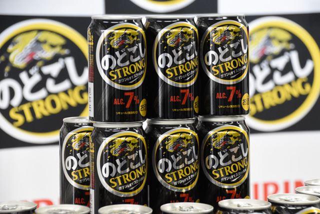 黒ビールではないが、力強い味覚を感じさせるブラックをパッケージに採用した「キリン のどごし STRONG」