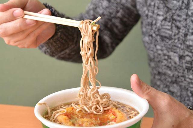 緑のたぬき 天そば(西日本)試食
