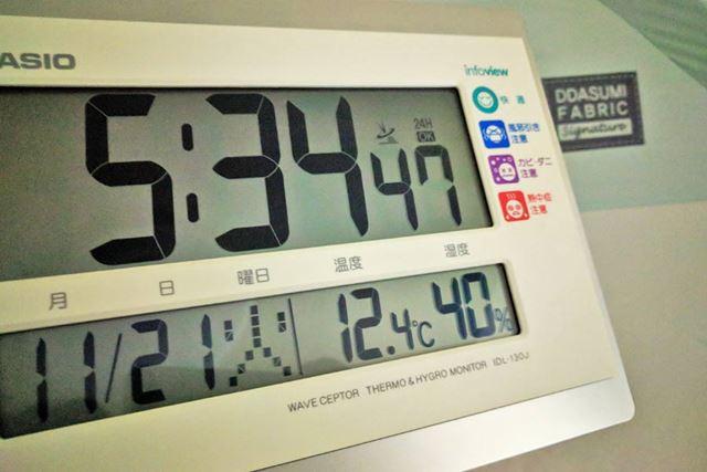 室内(テント外)気温12.4度