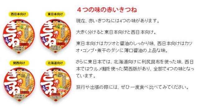 東洋水産の公式サイトによると、現在4つの味の「赤いきつねうどん」が販売中とのこと