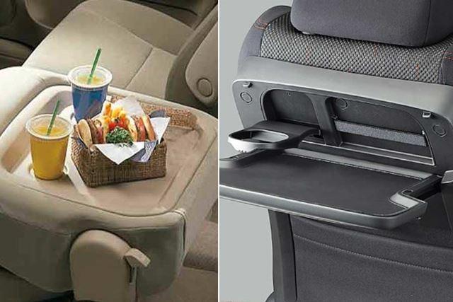 ミニバンなど背の高い車のシートには、後席用のテーブルが付いていることが多いです