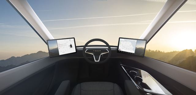 近未来的なデザインの運転席