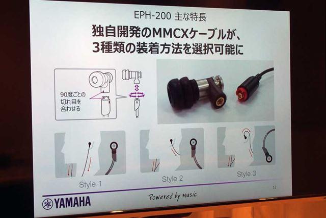 独自開発のMMCXケーブルの接合部を工夫することで、いわゆる耳がけ式での装着も可能